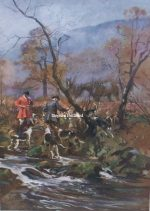 Lionel Edwards Hunting print The Devon and Somerset Staghounds The Mort