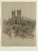 Cecil Aldin Lincoln Cathedral original pencil signed print