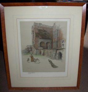 Cecil Aldin print Bramshill House Berkshire frame