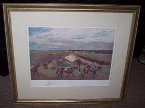 Lionel Edwards Racing Print The Ditch Newmarket Frame