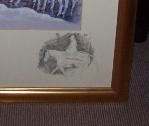Daniel Crane December original pencil signed Hunting Print Vignette