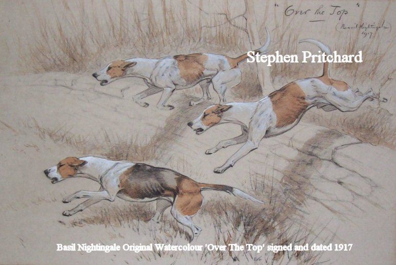 Basil Nightingale original watercolour Over the Top 1917