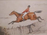 Basil Nightingale Hunting Watercolour A Cure for the Spleen