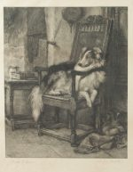 Briton Riviere Sheepdog Resting in chair engraving