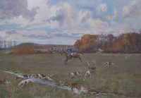 Lionel Edwards Hunting Print The RA Drag or Royal Artillery Hunt at Bordon