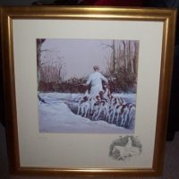 Daniel Crane December original pencil signed Hunting Print Frame