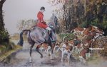 Daniel Crane Leu In original pencil signed Hunting Print