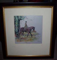 Daniel Crane September original pencil signed Hunting Print frame